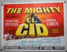 El Cid, Original UK Quad Poster, Charlton Heston, Sophia Loren, '61